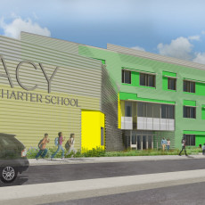 Exterior Rendering South-West from accross street